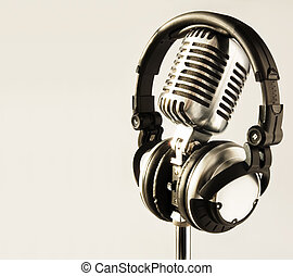 Microphone and Headphones - Vintage Microphone and DJ...