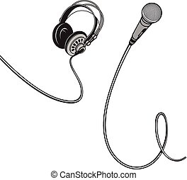 Microphone and headphones with wires.