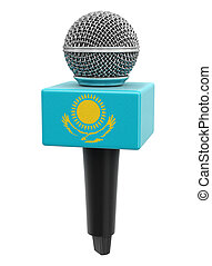 Microphone and Kazakh flag. Image with clipping path