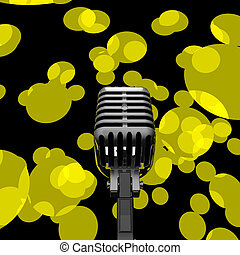 Microphone And Lights Showing Mic Concert Performance Or Music Show