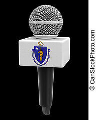 Microphone and Massachusetts flag. Image with clipping path