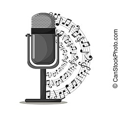 Microphone and music notes design