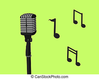 Microphone and Music Notes - Music notes and a microphone a...