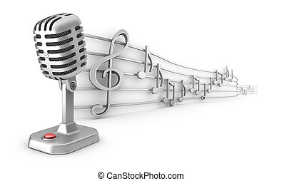 Microphone and musical notes staff set