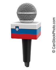 Microphone and Slovene flag. Image with clipping path