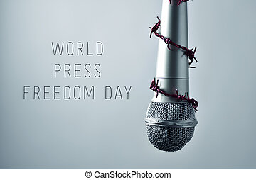 microphone and text world press freedom day - closeup of a...