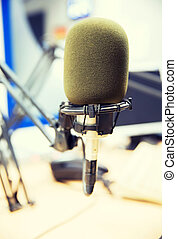 microphone at recording studio or radio station