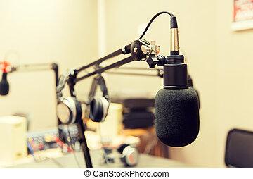 microphone at recording studio or radio station -...