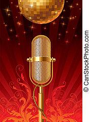 microphone, balle, &, -, illustration, disco, vecteur, retro, orné