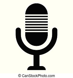 Microphone black vector icon on white background