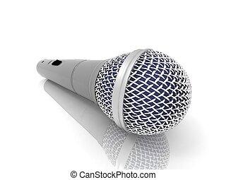 microphone, blanc, fond