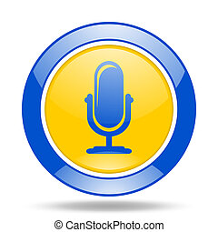 microphone blue and yellow web glossy round icon