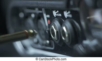 microphone, câble, amplificateur, brancher, main, xlr