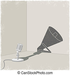 Microphone casting shadow of bullhorn in vector