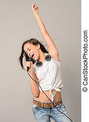 microphone, chant, adolescente, danse