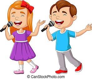 microphone, chant, girl, garçon