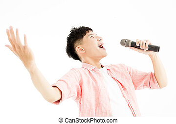 microphone, chant, jeune homme