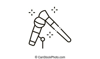Microphone Check Icon Animation. black Microphone Check animated icon on white background