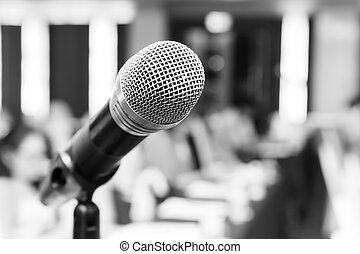 Microphone - Close up old wireless microphone in conference ...
