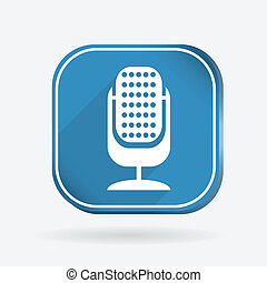 microphone. Color square icon