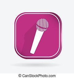microphone. Color square icon