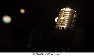 microphone, concert, spotlights., métal, séjour, retro, club., étape vide