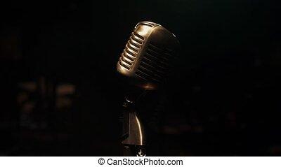microphone, concert, vendange, club., retro, spotlight., étape, scintillement, stand