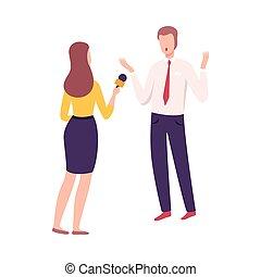 microphone, conférence, vivant, presse, plat, donner, journaliste, entrevue, femme, vecteur, illustration, homme affaires, rapport