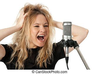 microphone, crier, chanteur, rocher