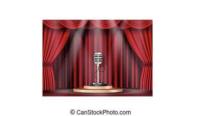 microphone, curtain., étape