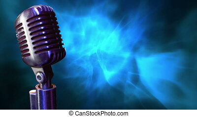 Microphone - Digital animation of a microphone with a blue ...