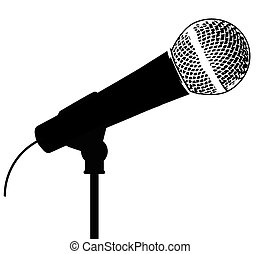Microphone - A typical live vocal microphone isolated on...
