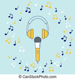 Microphone, earphones and music notes