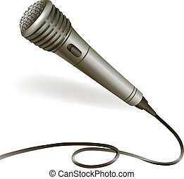 Microphone emblem isolated - Music karaoke microphone...