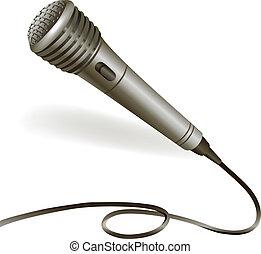 Microphone emblem isolated - Music karaoke microphone...