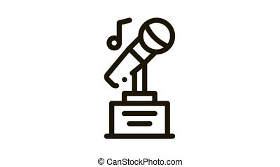 Microphone Equipment For Singing Songs animated black icon on white background