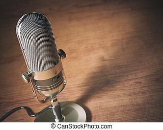 microphone, espace, vendange, text., style, arrière-plan., retro, table