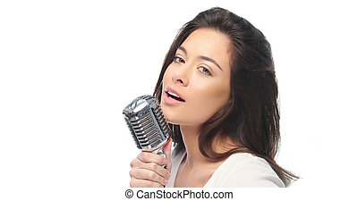 microphone, femme, chant, preety