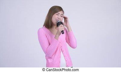 microphone, femme, jeune, asiatique, chant, heureux