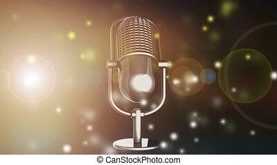 microphone, flash, tourner, retro