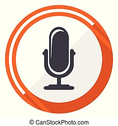 Microphone flat design vector web icon. Round orange internet button isolated on white background.