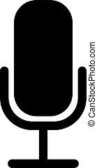 microphone, flat., icône