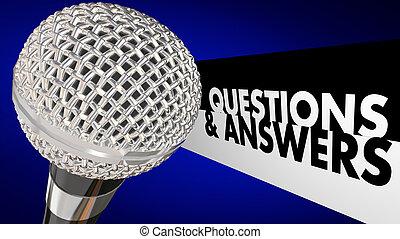 microphone, forum, discussion, réponses, q, audience, illustration, questions, 3d