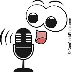 microphone funny face talking
