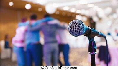 microphone, gens, fond, danse