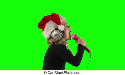 microphone, girl, vert, émotif, écran, chanson, chant, ...