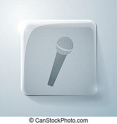 microphone. Glass square icon