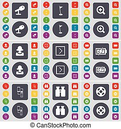 Microphone, Golf hole, Magnifying glass, Avatar, Arrow right, Charging, Connection, Binoculars, Videotape icon symbol. A large set of flat, colored buttons for your design. Vector