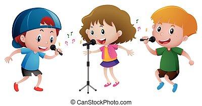 microphone, gosses, chant, trois