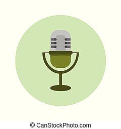 microphone, graphique, classique, illustration, vecteur, icône